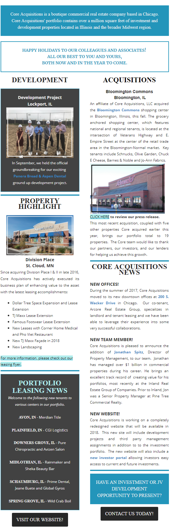 Read all about Core Acquisition's latest news and updates in the December 2017 holiday newsletter.